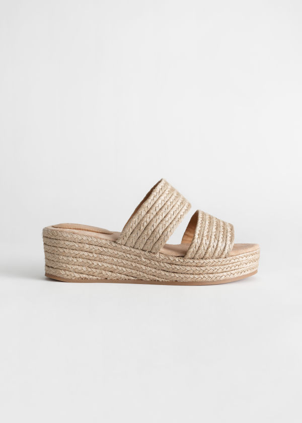 Front image of Stories duo strap woven jute wedges in orange