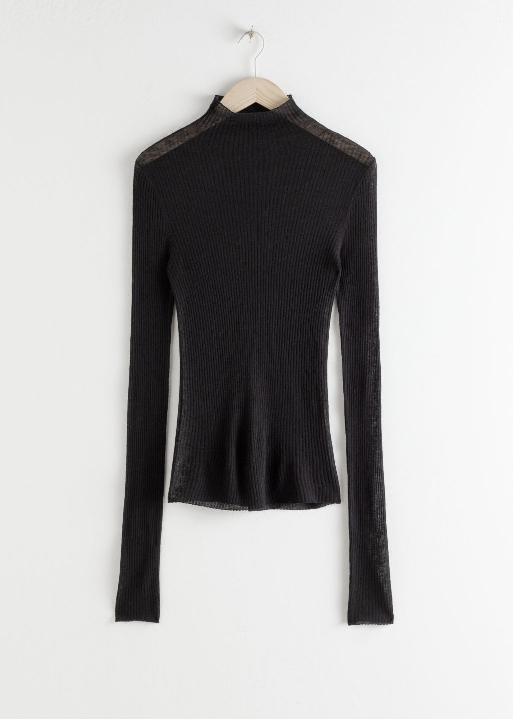 StillLife Front Image of Stories Fitted Cashmere Turtleneck Top in Black