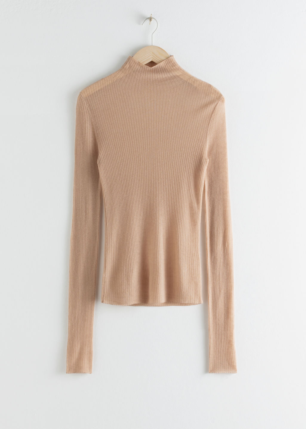 StillLife Front Image of Stories Fitted Cashmere Turtleneck Top in Beige