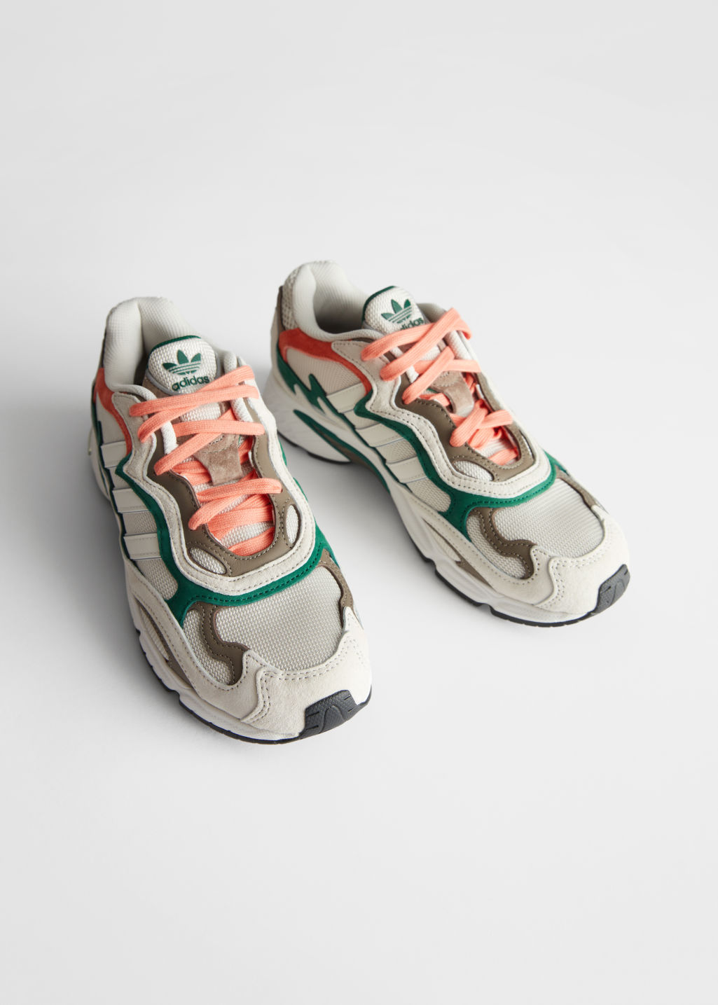 Front image of Stories adidas temper run in white