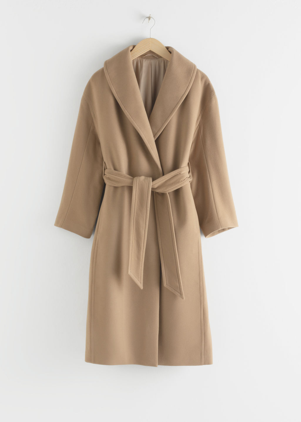 StillLife Front Image of Stories Belted Wool Blend Long Coat in Beige