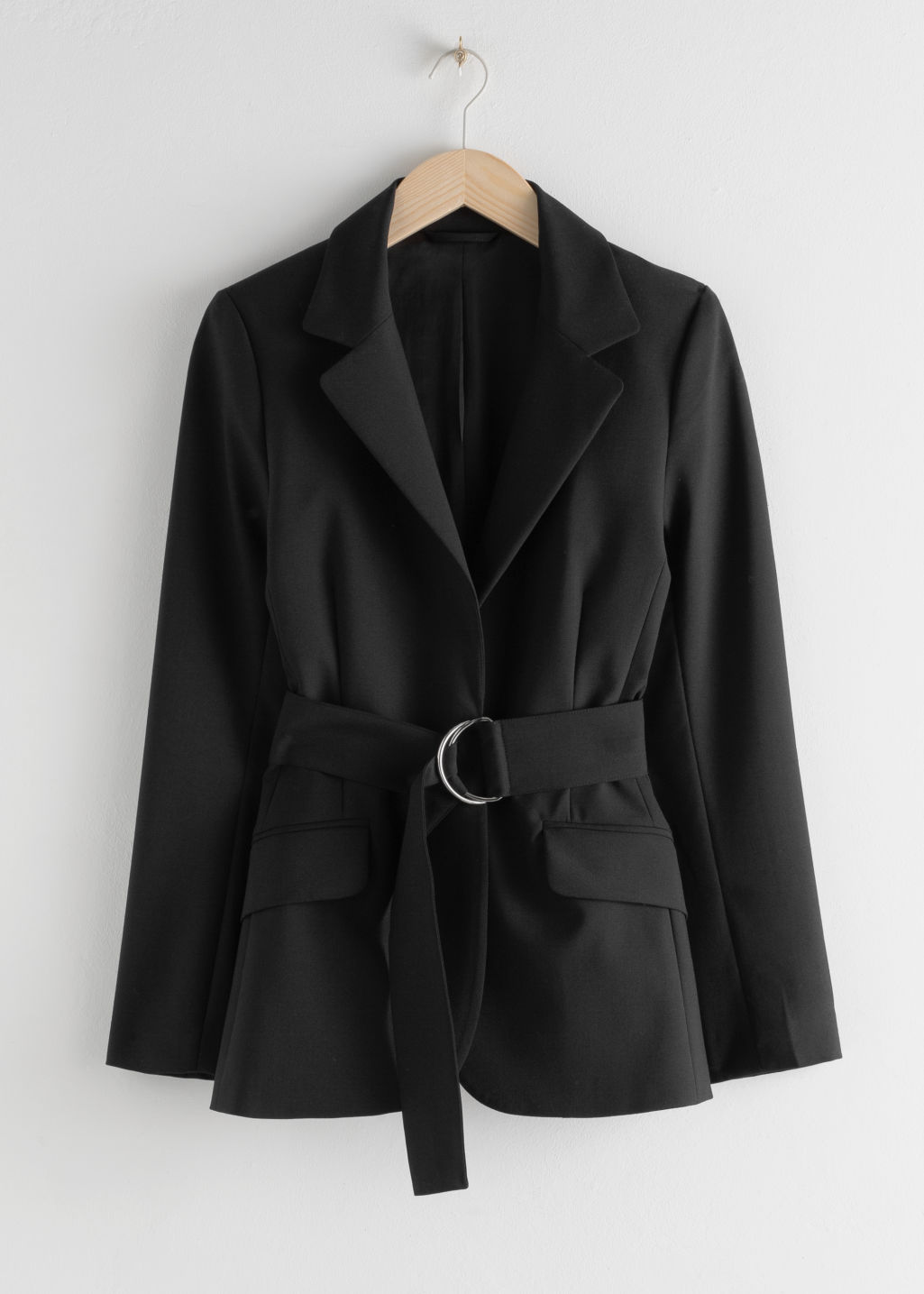StillLife Front Image of Stories Wool Blend Belted Blazer in Black