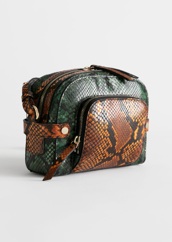 Snake Embossed Small Crossbody Bag