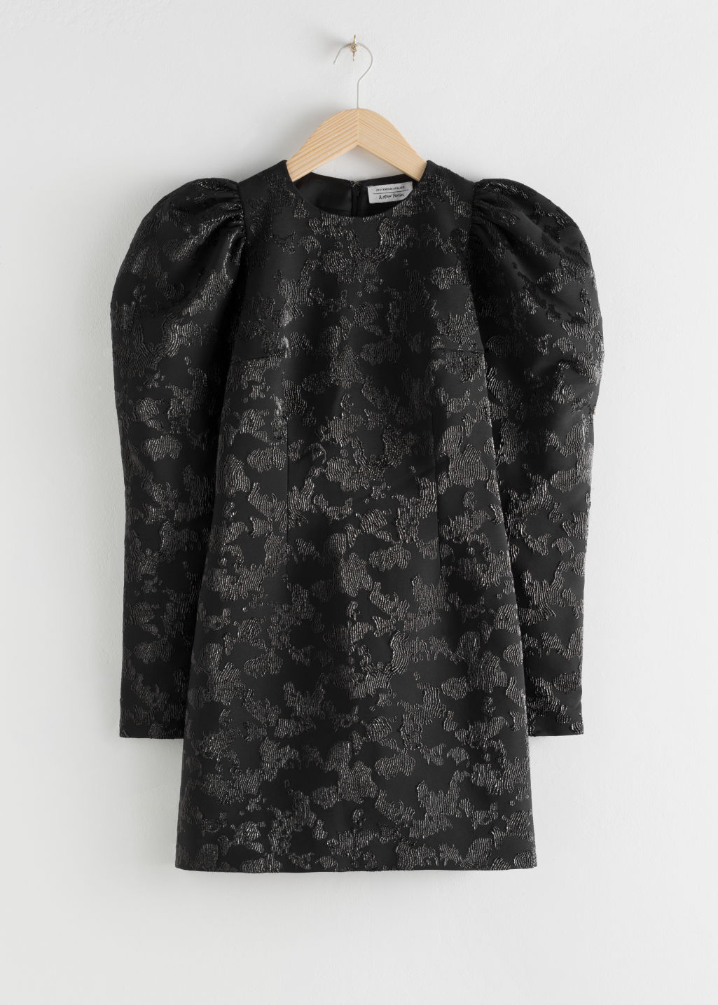 StillLife Front Image of Stories Puff Sleeve Mini Jacquard Dress in Black