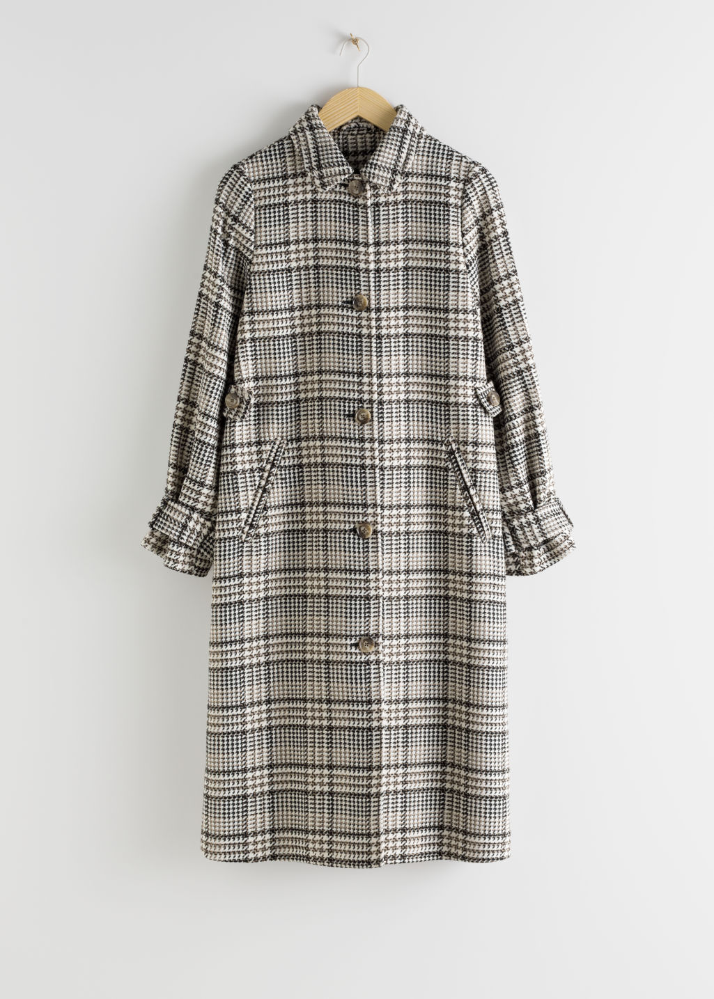 StillLife Front Image of Stories Plaid Check Long Tailored Coat in Beige