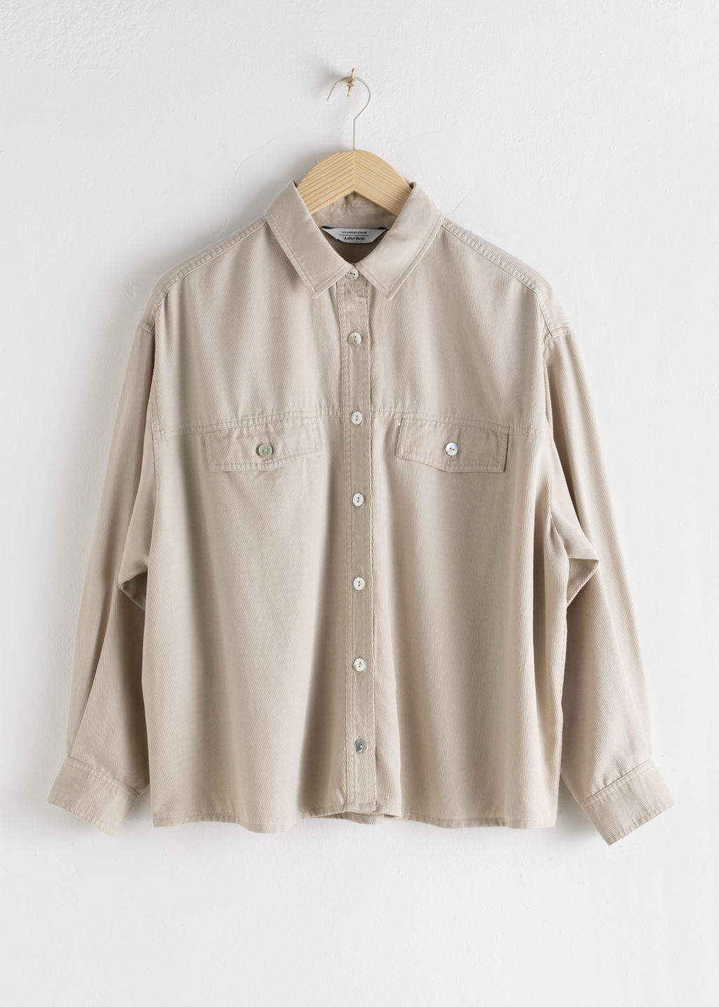 StillLife Front Image of Stories Twill Patch Pocket Lyocell Shirt in Beige