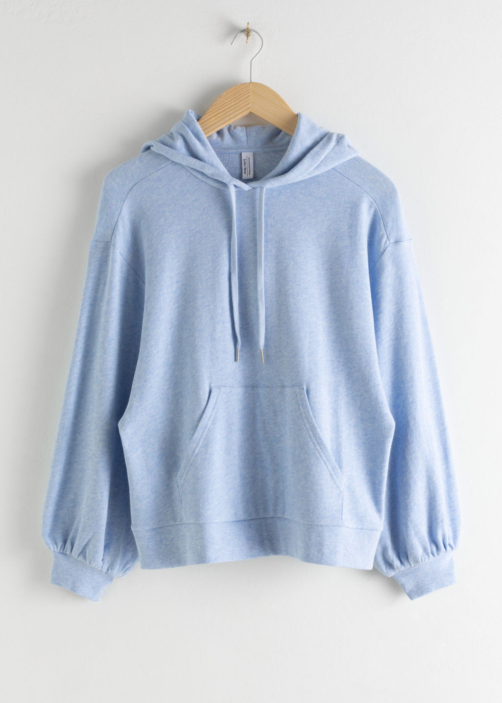 Front image of Stories puff sleeve hooded sweatshirt in blue