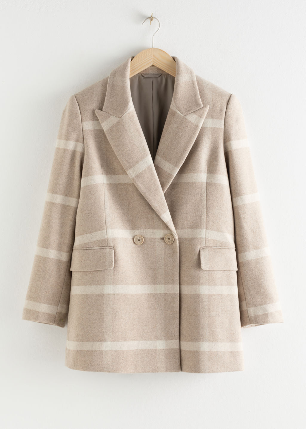 Front image of Stories wool blend herringbone check jacket in beige