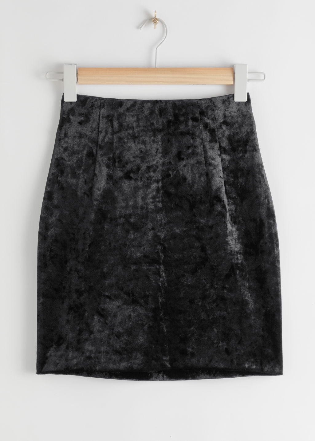 StillLife Front Image of Stories Fitted Velour Mini Skirt in Black