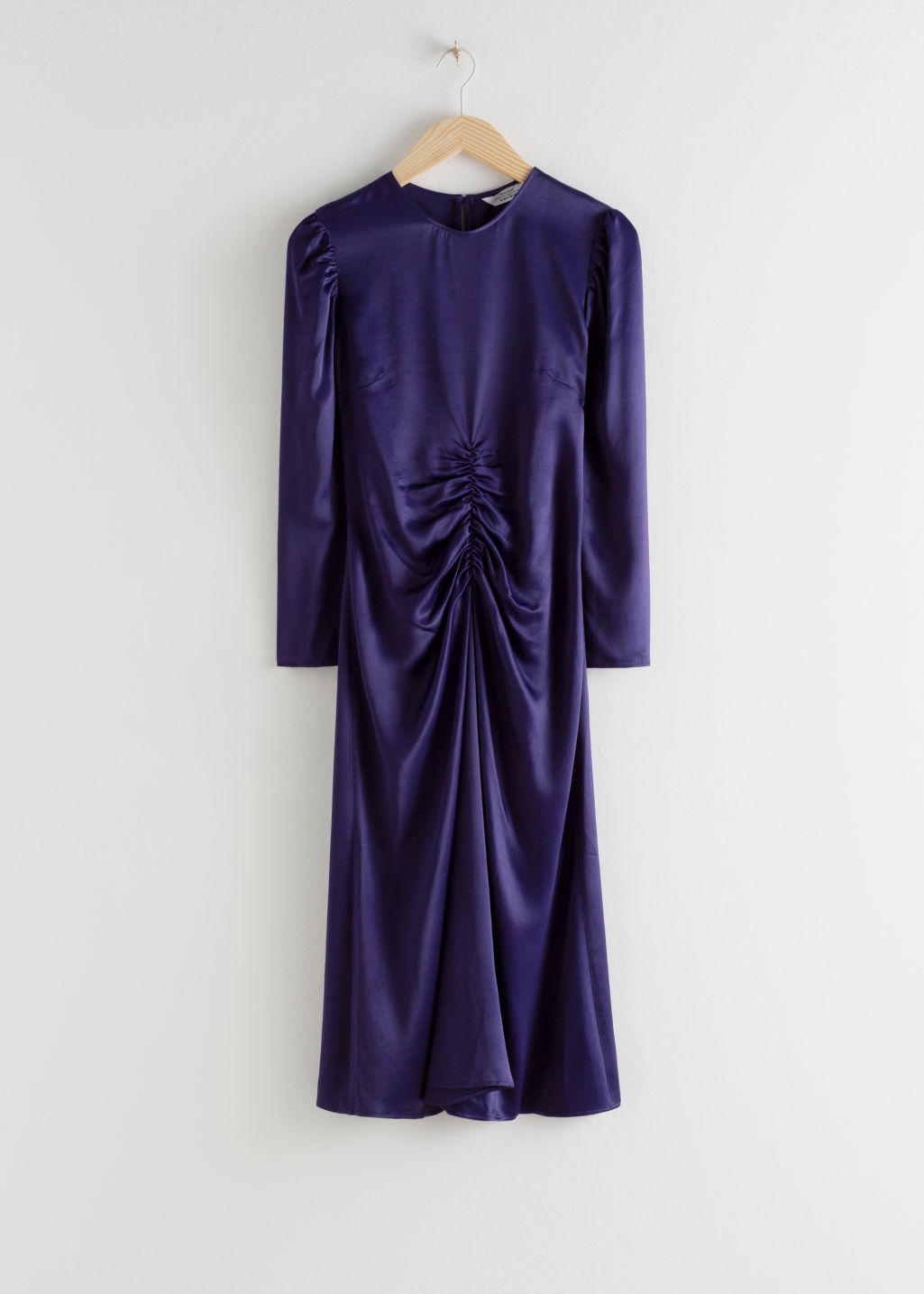 Front image of Stories ruched satin midi dress in purple