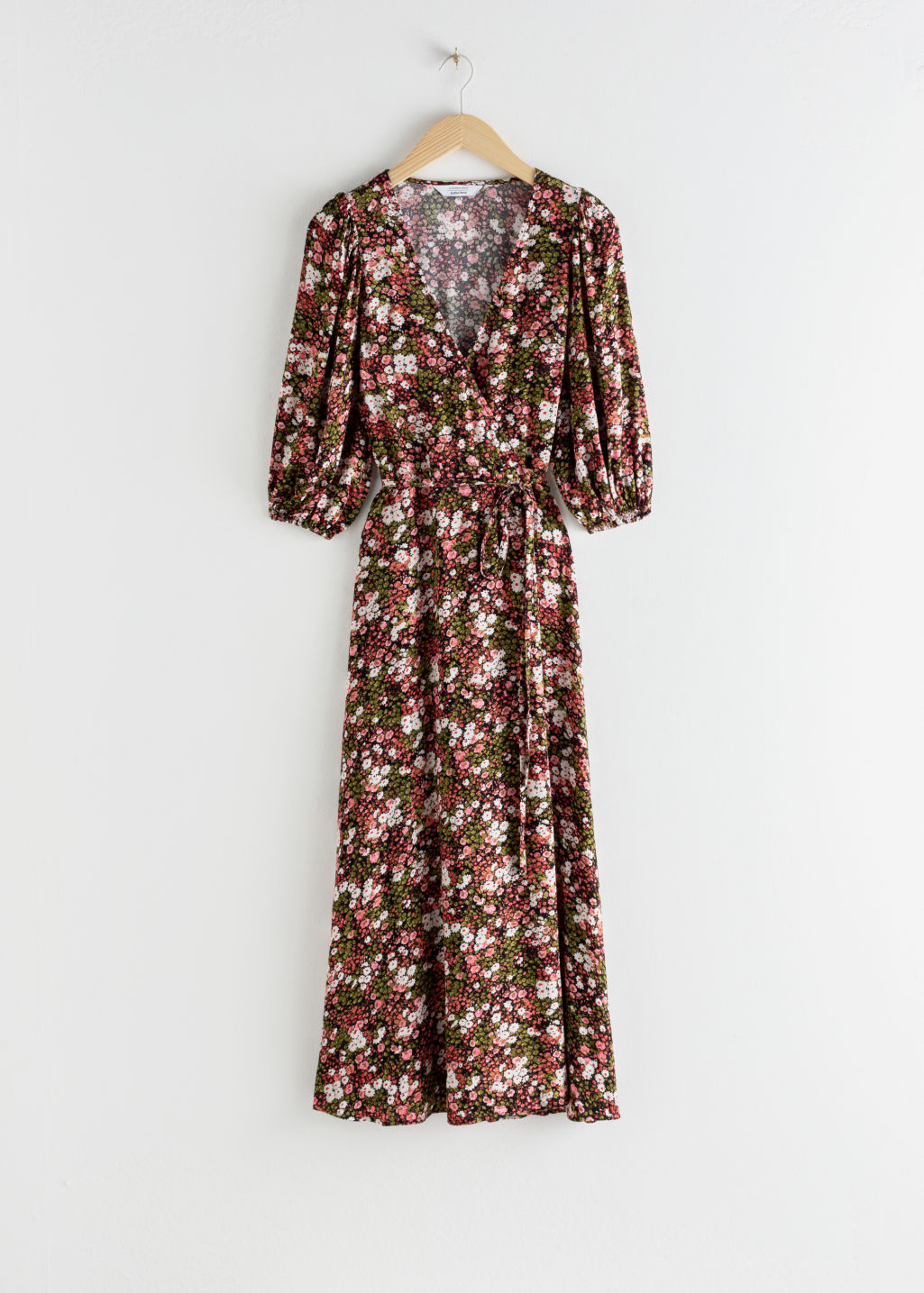 Front image of Stories floral puff sleeve midi wrap dress in pink