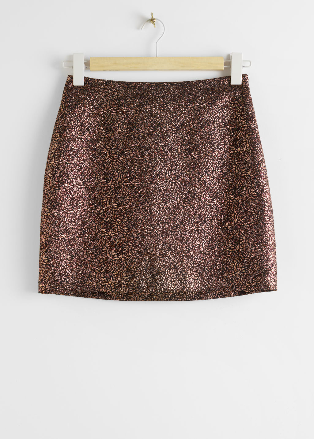 StillLife Front Image of Stories Metallic Rose Jacquard Mini Skirt in Black