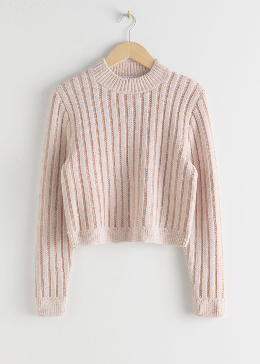StillLife Front Image of Stories Mock Neck Metallic Stripe Sweater in Orange