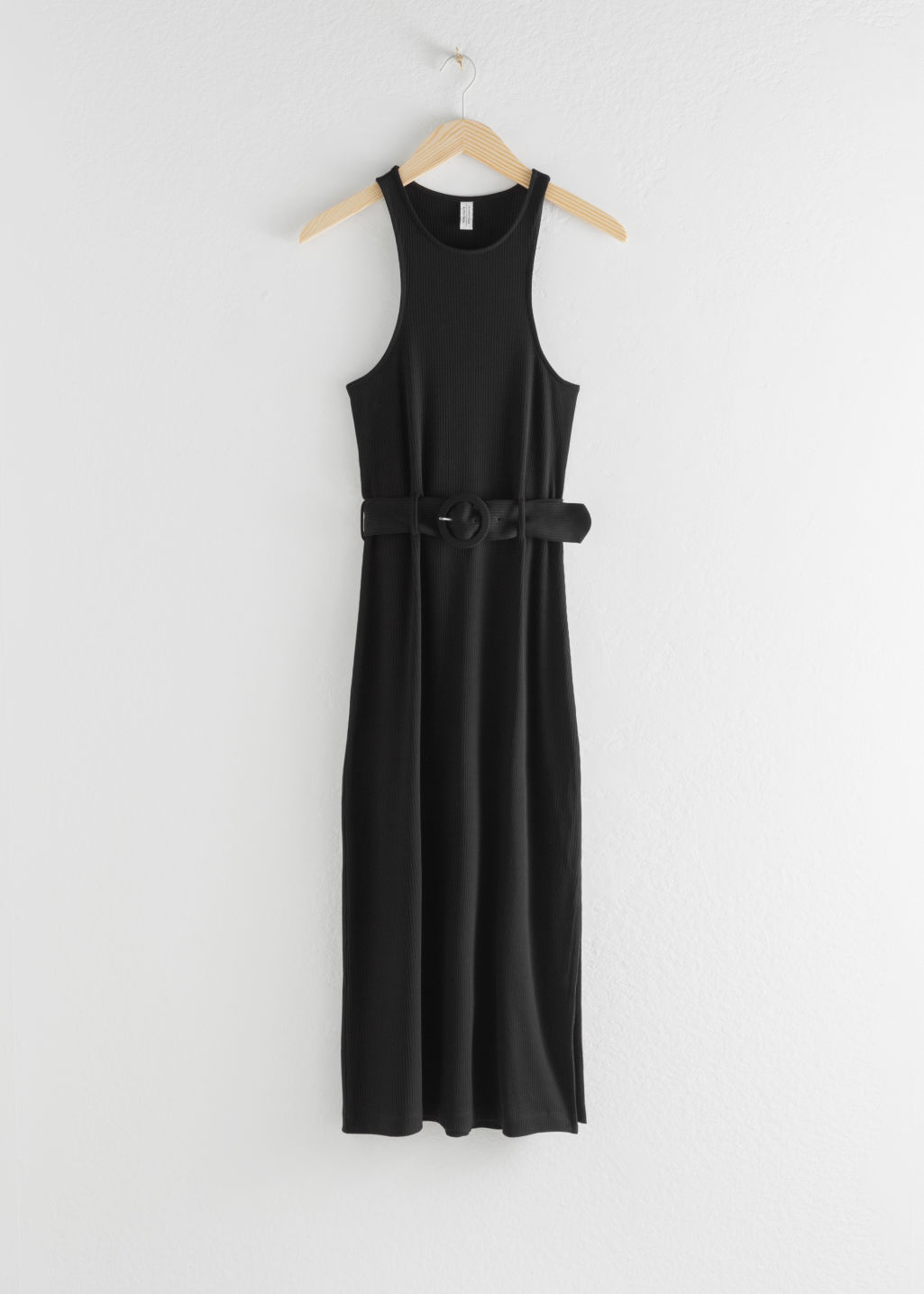 Front image of Stories belted soft ribbed midi dress in black