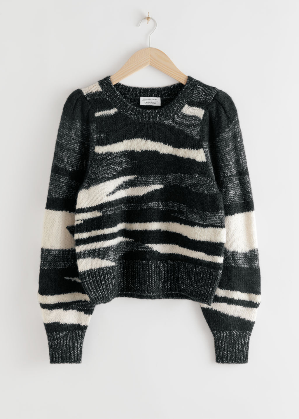 StillLife Front Image of Stories Zebra Colour Block Sweater in Black