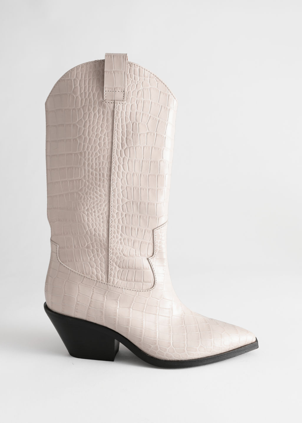 Front image of Stories croc embossed leather cowboy boots in white