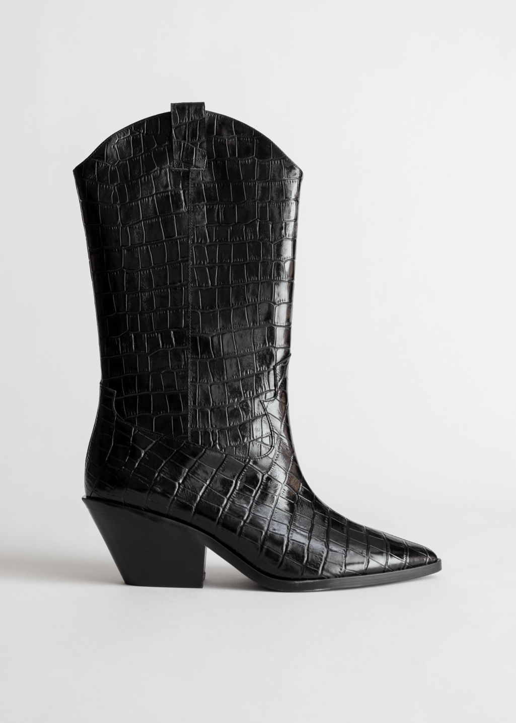 Front image of Stories croc embossed leather cowboy boots in black