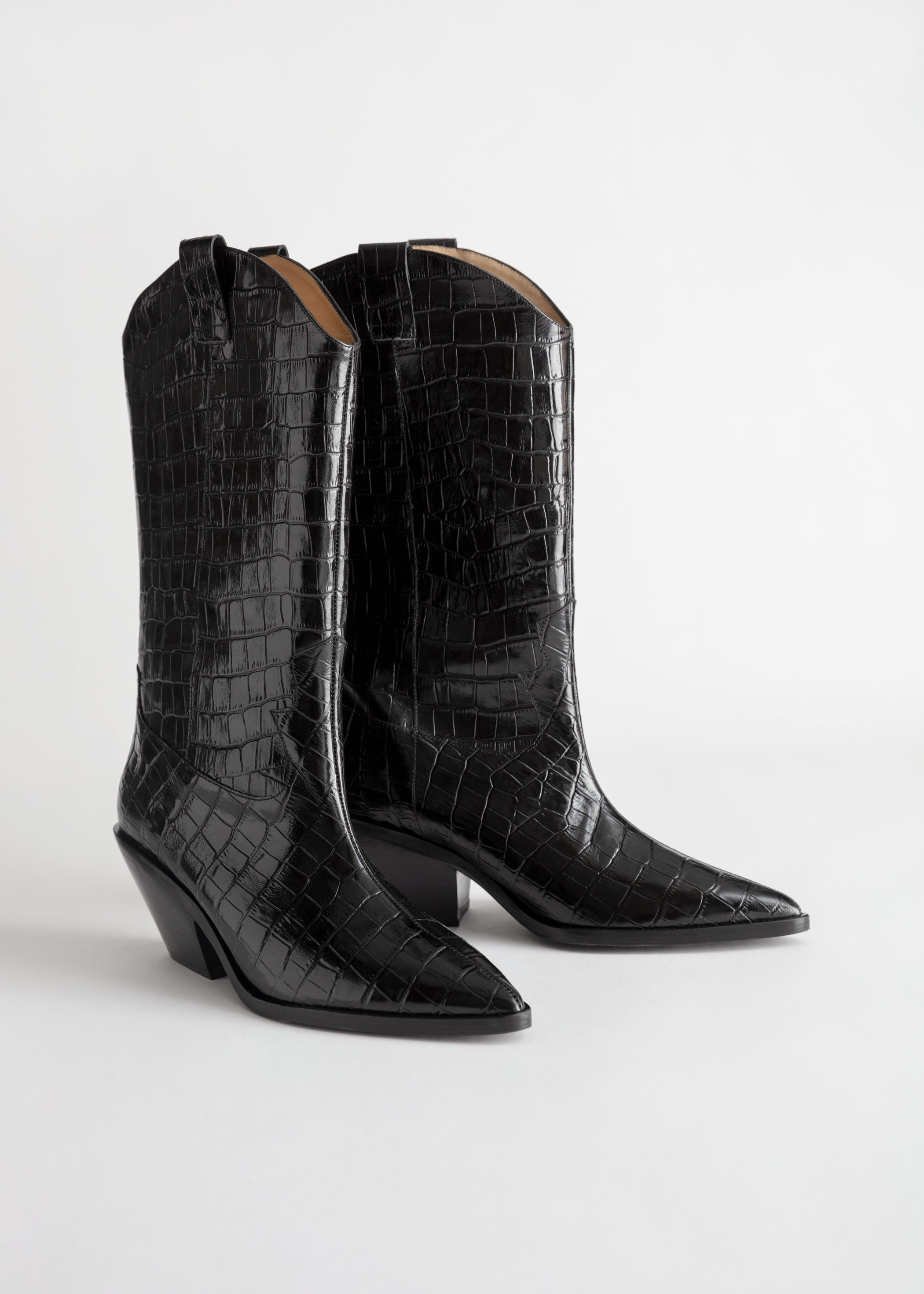Croc Embossed Leather Cowboy Boots & Other Stories