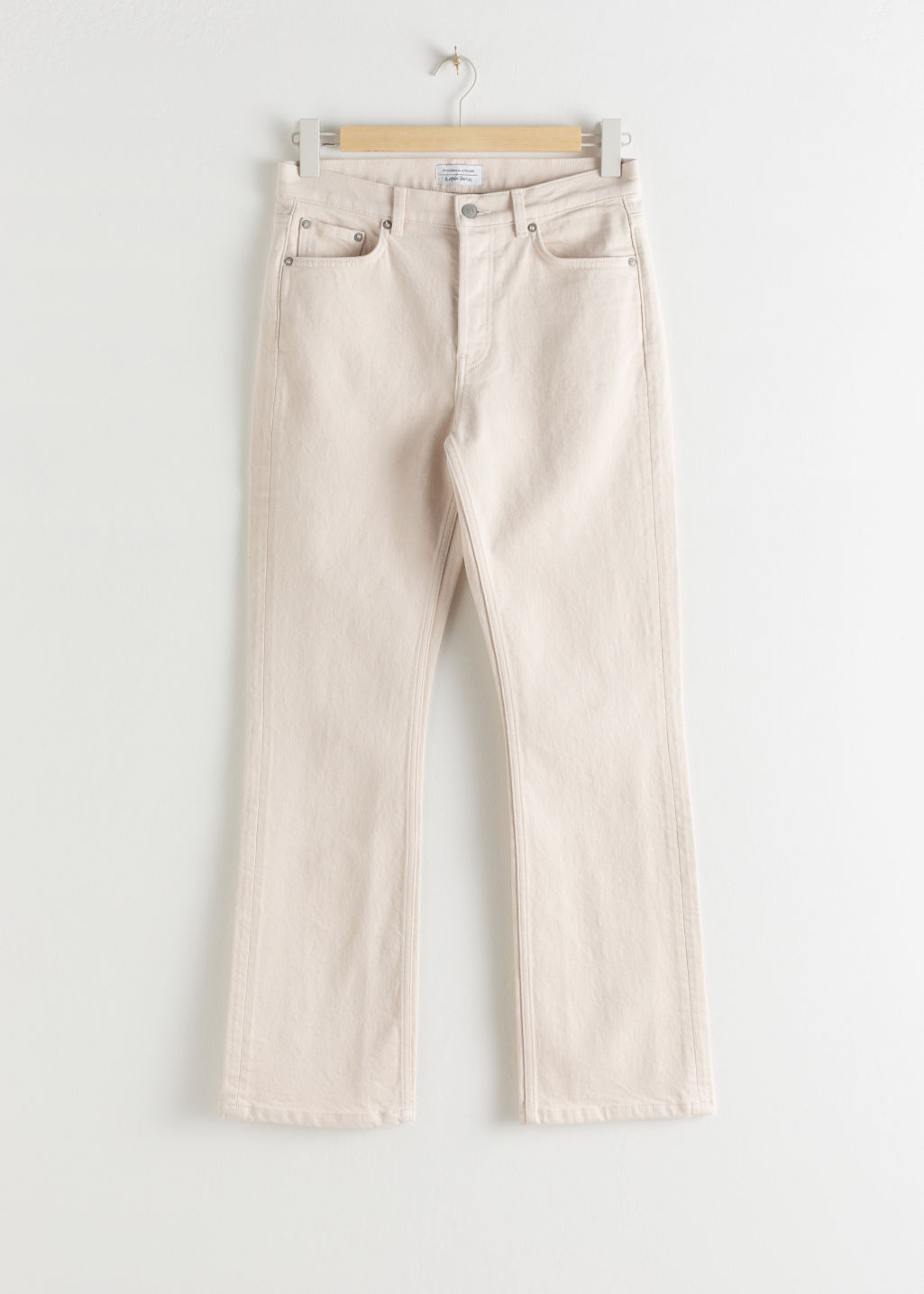 StillLife Front Image of Stories Kick Flare Stretch Ecru Jeans in White