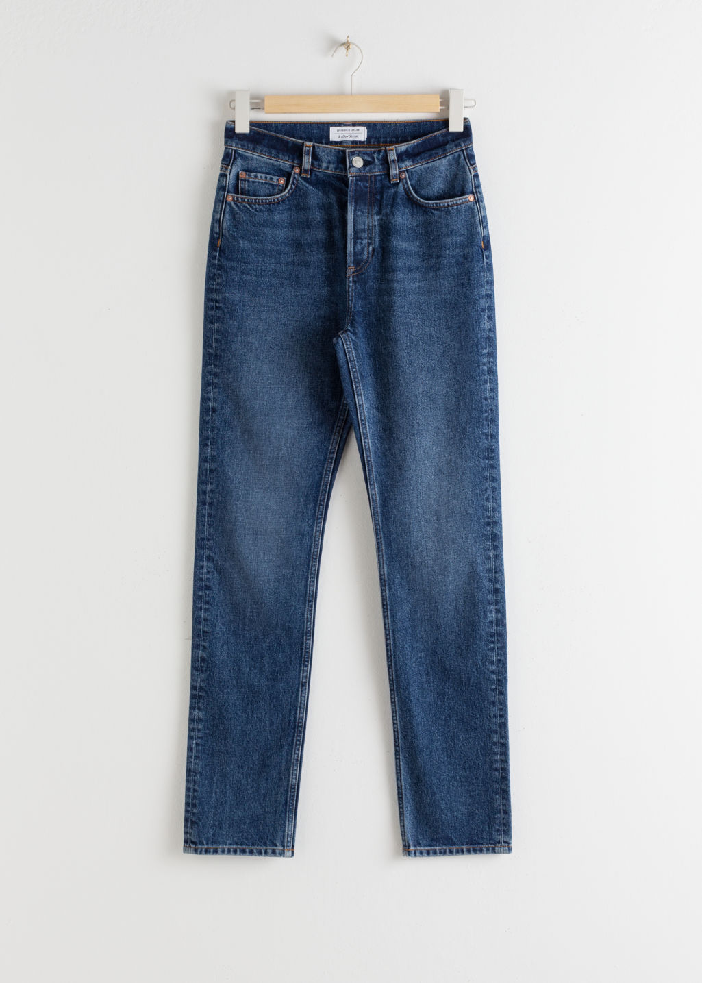 StillLife Front Image of Stories Slim High Rise Jeans in Blue