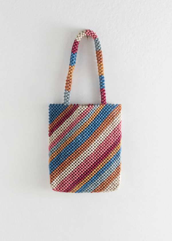 Rainbow Wooden Beaded Tote Bag