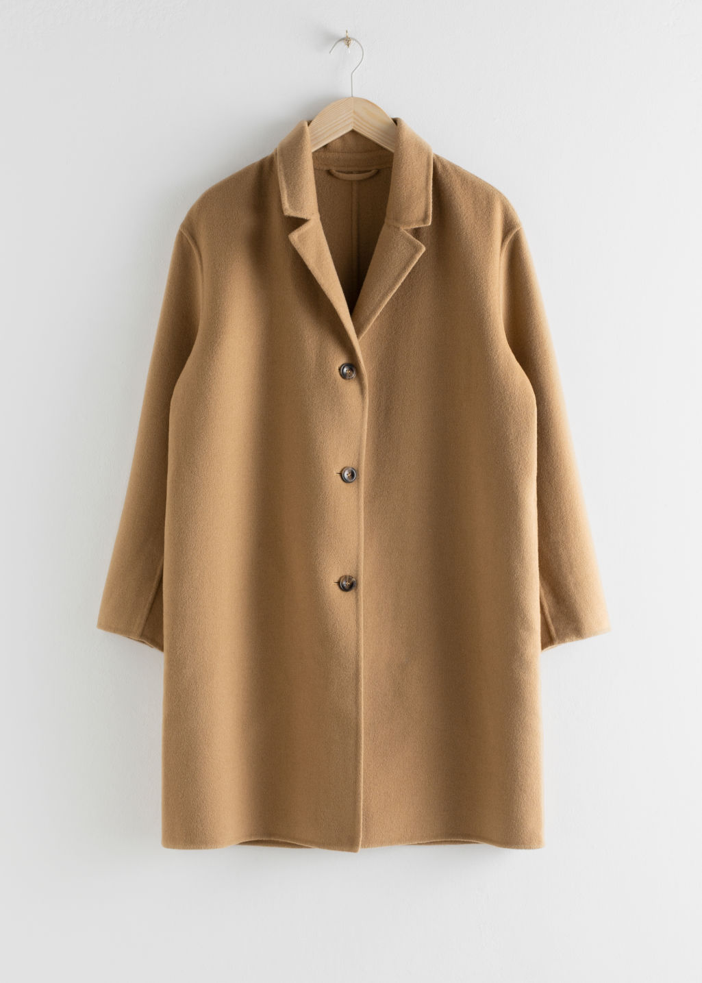StillLife Front Image of Stories Relaxed Wool Blend Coat in Beige
