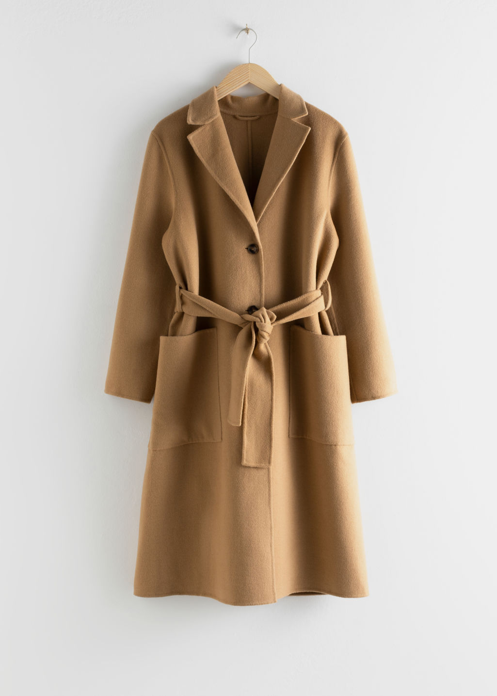 Front image of Stories wool blend belted long coat in beige