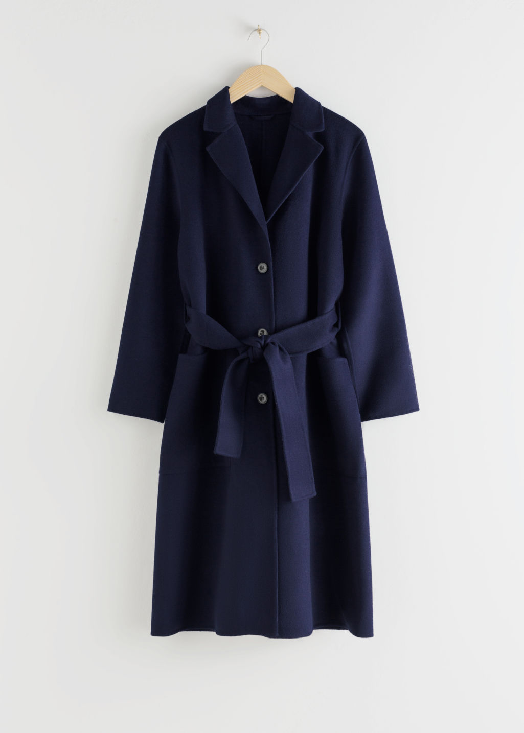 StillLife Front Image of Stories Wool Blend Belted Long Coat in Blue