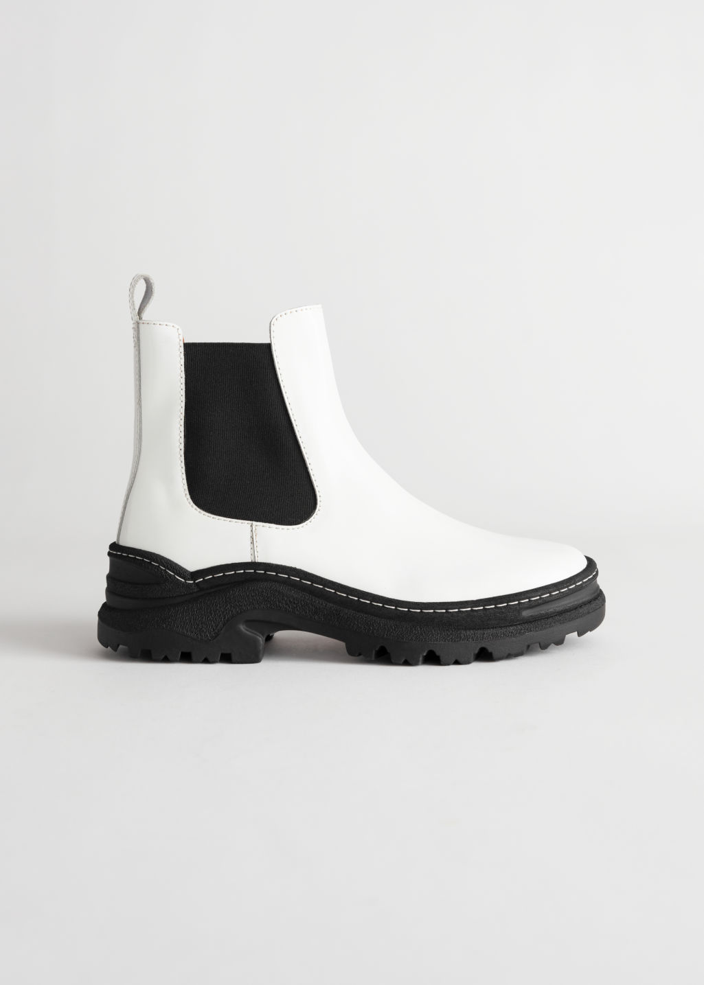 StillLife Front Image of Stories Chunky Platform Leather Chelsea Boots in White