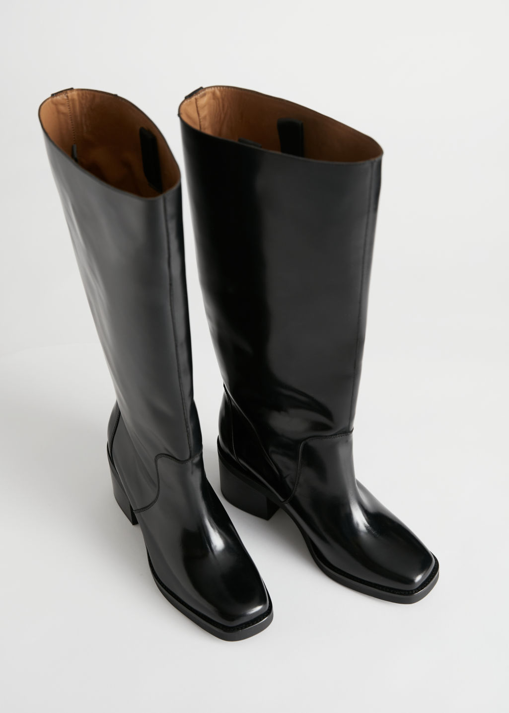 StillLife Front Image of Stories Square Toe Knee High Leather Boots in Black