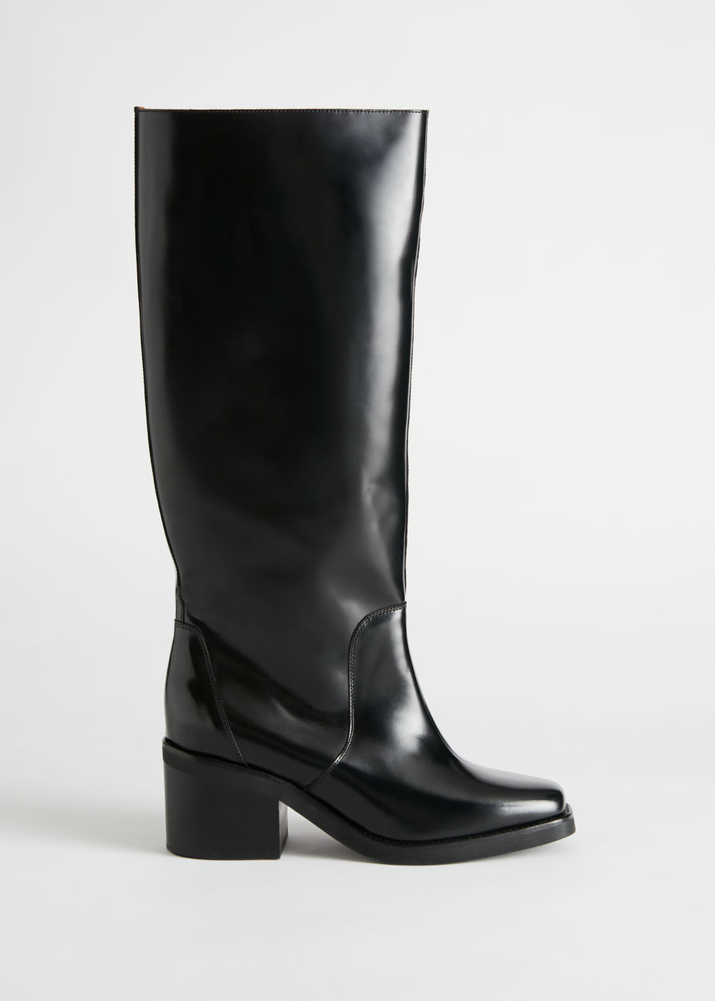 StillLife Side Image of Stories Square Toe Knee High Leather Boots in Black