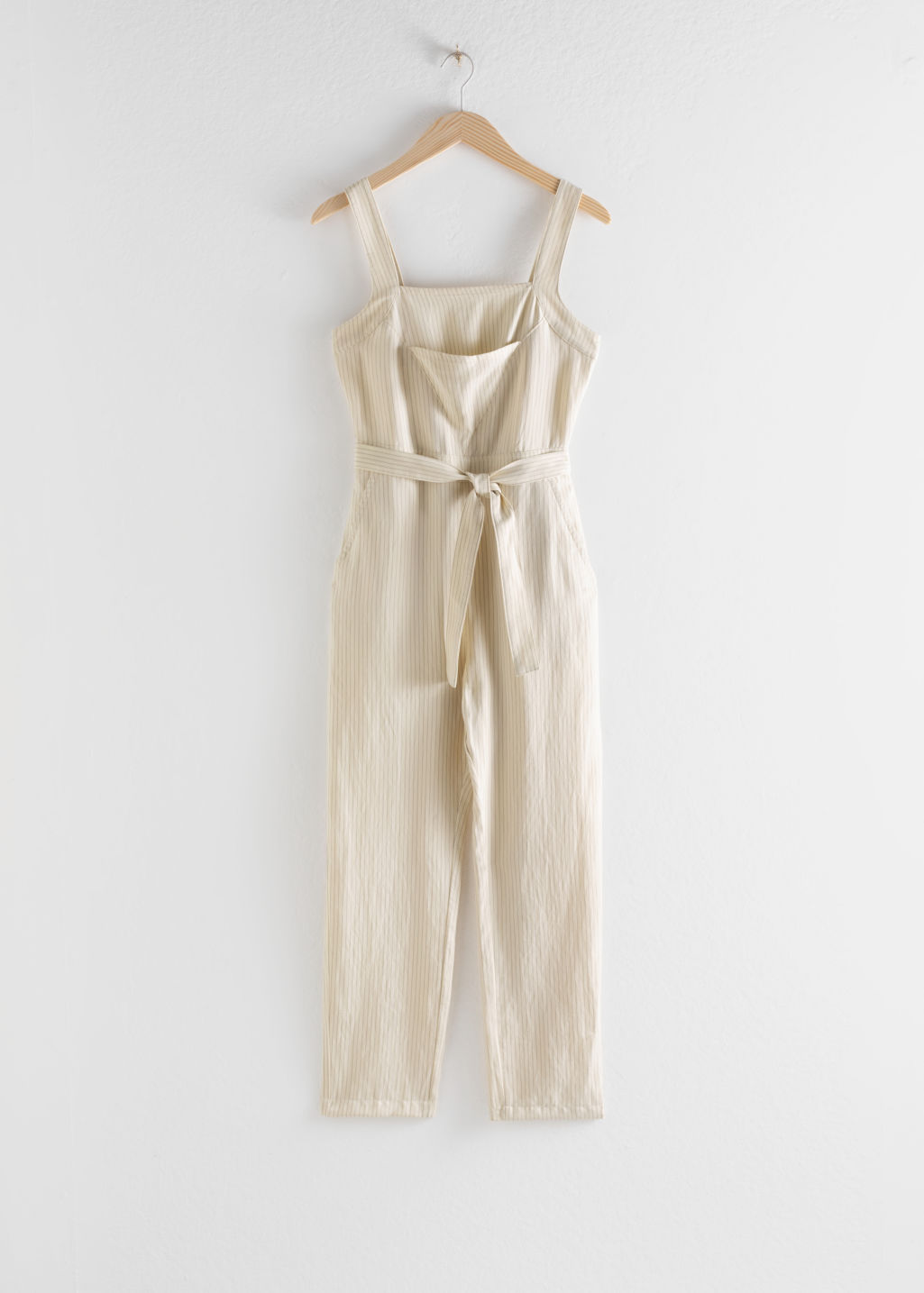 Front image of Stories lyocell linen blend jumpsuit in beige