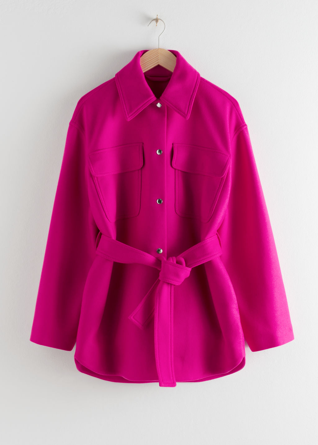 Front image of Stories wool blend belted overshirt jacket in purple