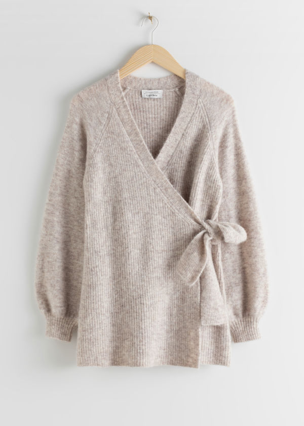Wool Blend Long Wrap Cardigan