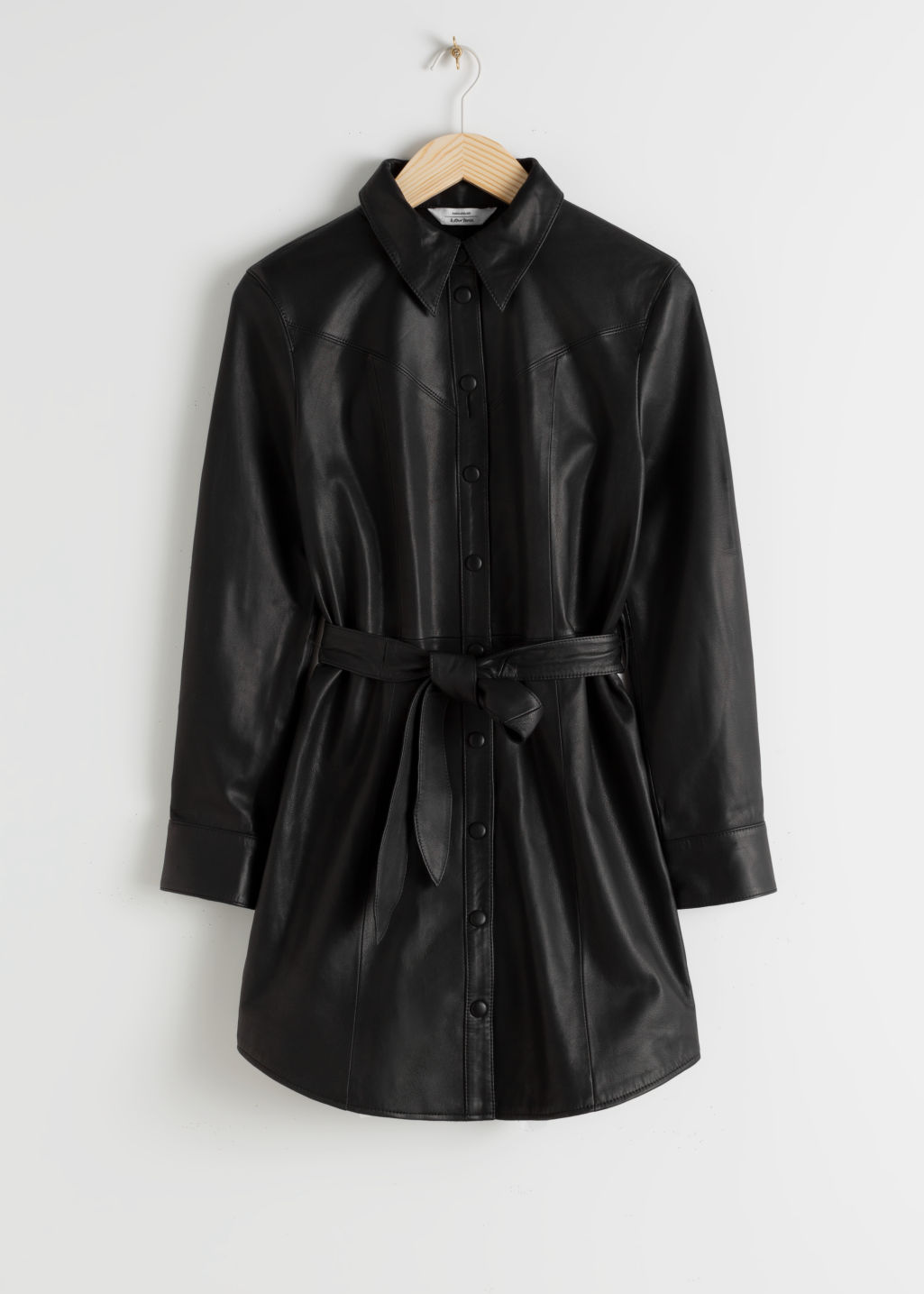 StillLife Front Image of Stories Leather Belted Mini Shirt Dress in Black