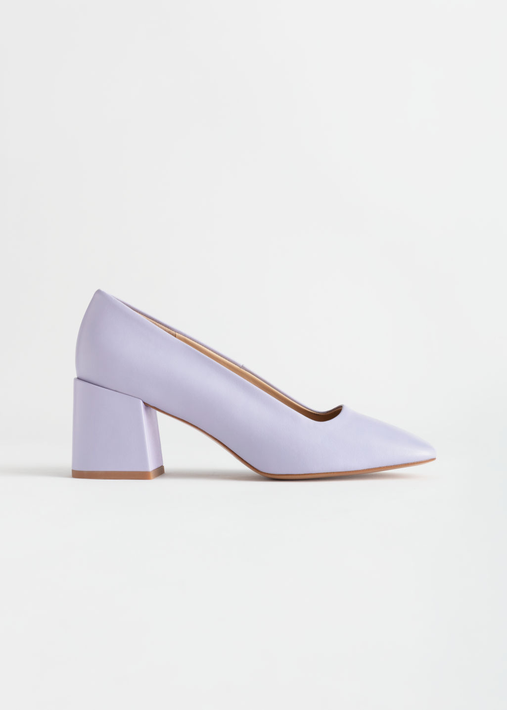 Front image of Stories suede block heeled pumps in purple