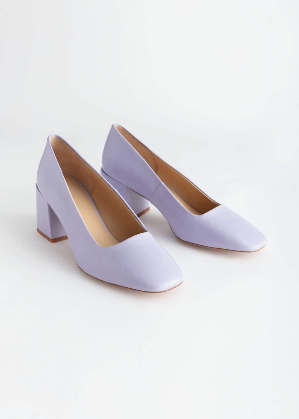 Back image of Stories suede block heeled pumps in purple