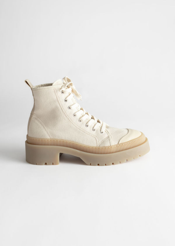 Canvas Platform Heeled Boots