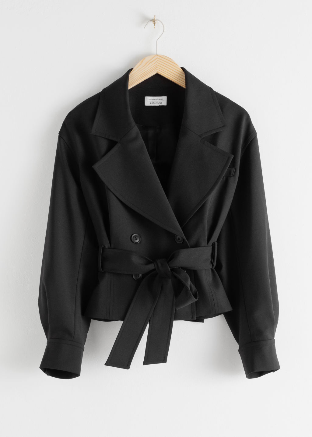 StillLife Front Image of Stories Belted Wool Blend Trench Jacket in Black