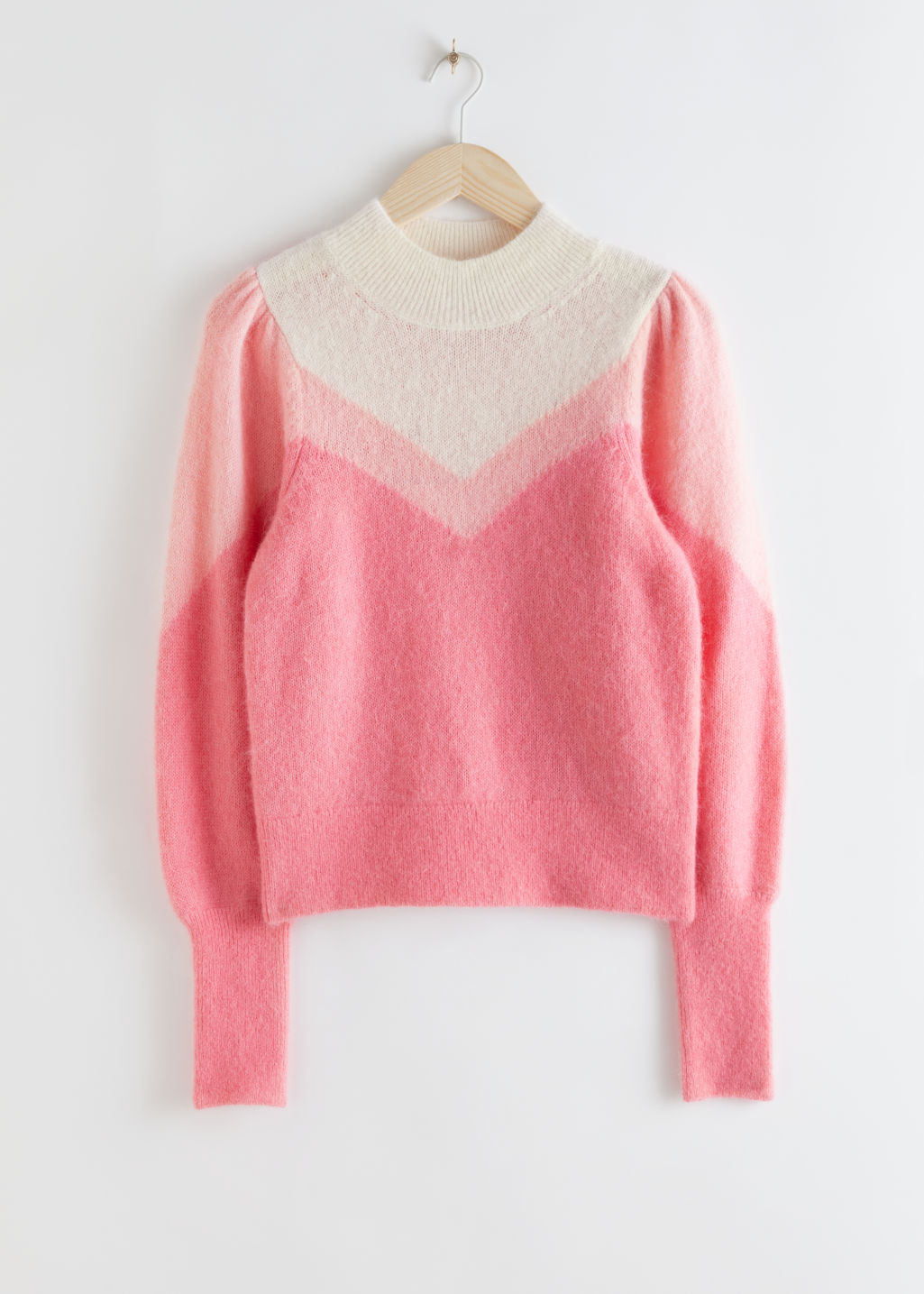 Front image of Stories colour block puff sleeve sweater in pink