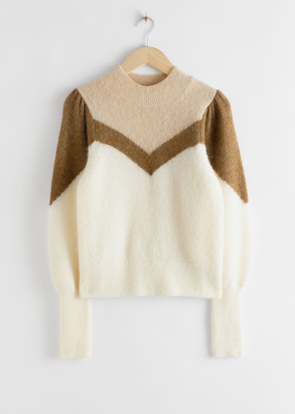 Front image of Stories colour block puff sleeve sweater in white