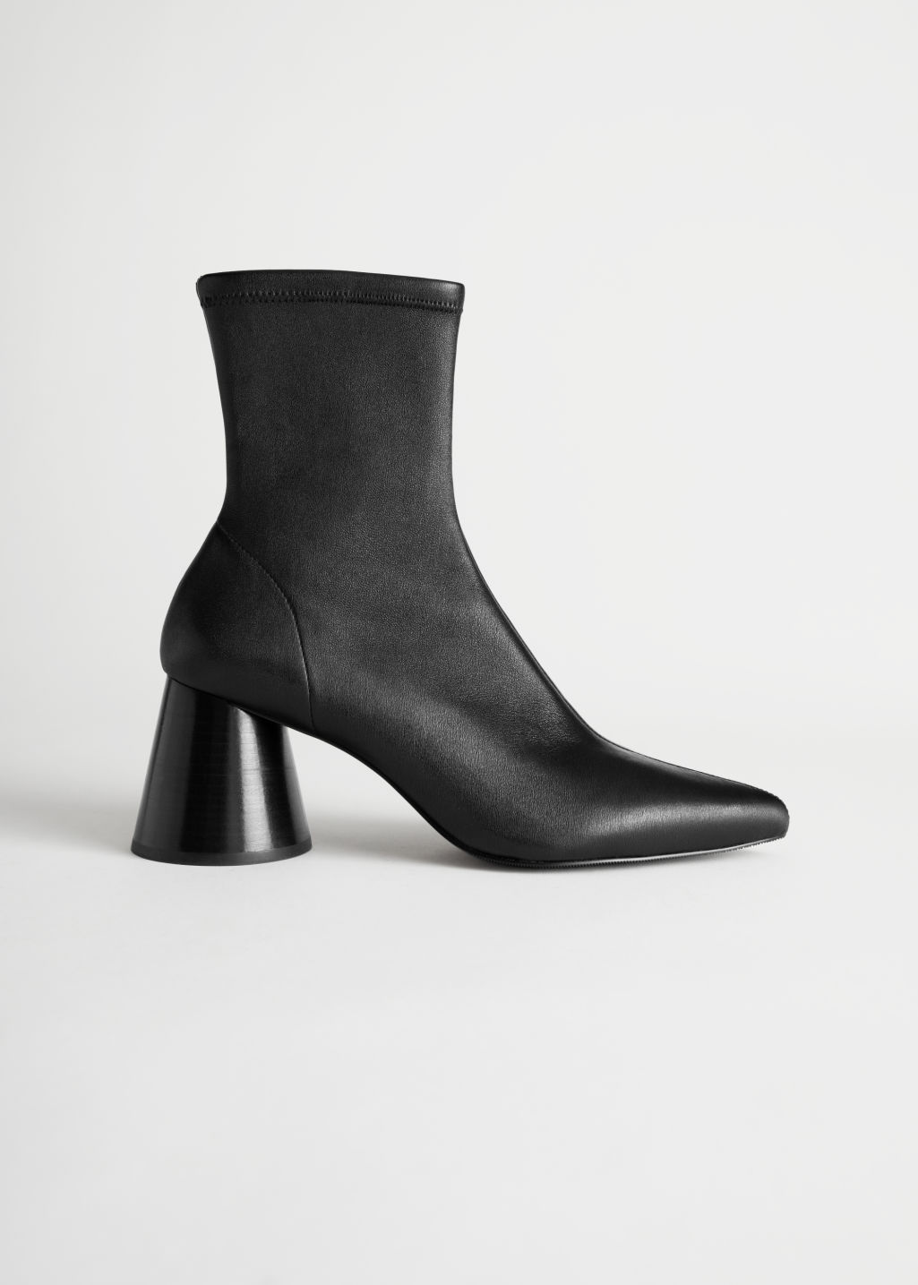 StillLife Front Image of Stories Pointed Leather Sock Boot in Black