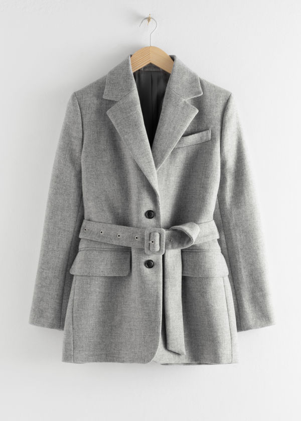 Square Buckle Belted Blazer