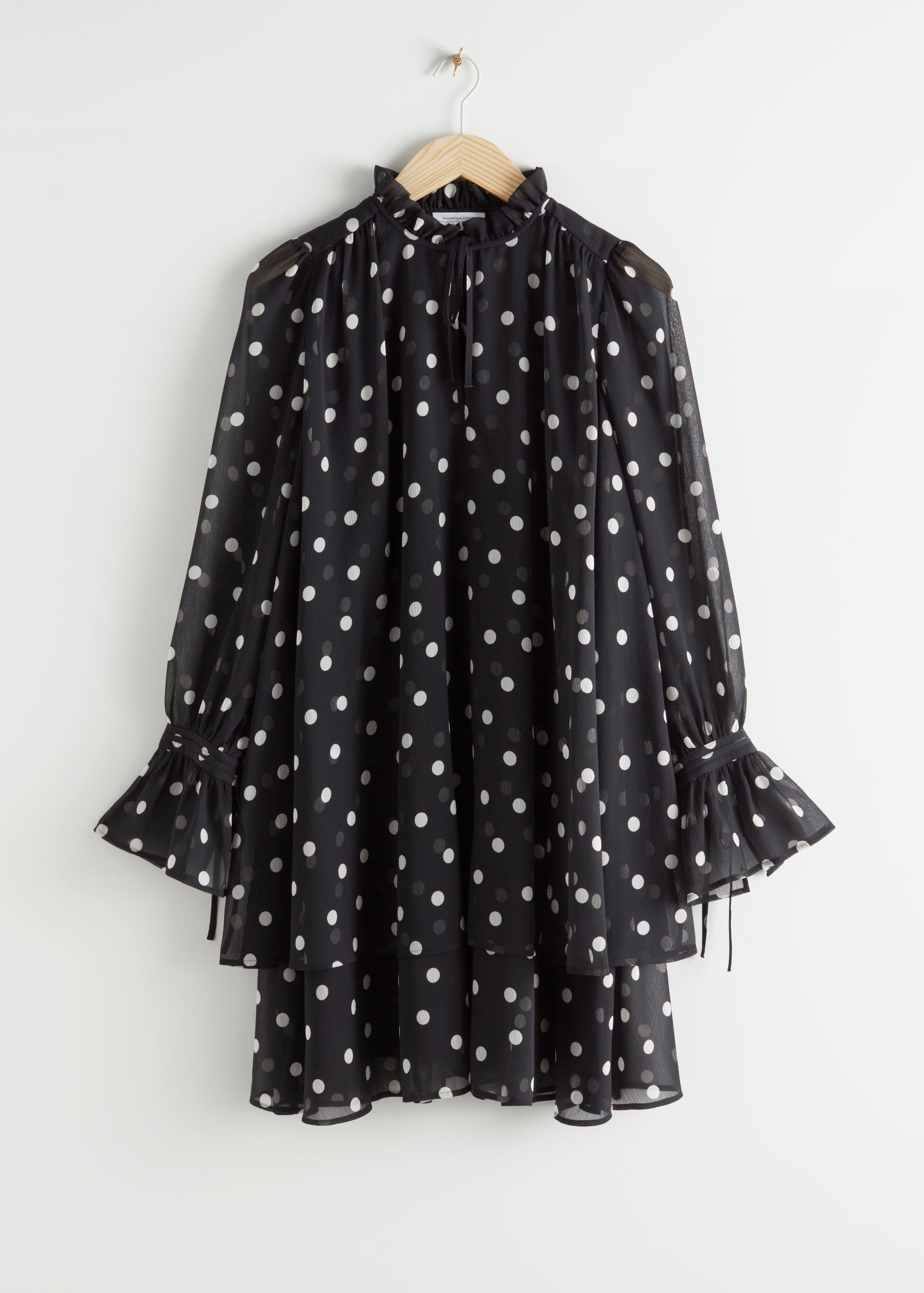 Polka Dot Layered Ruffle Mini Dress by & Other Stories