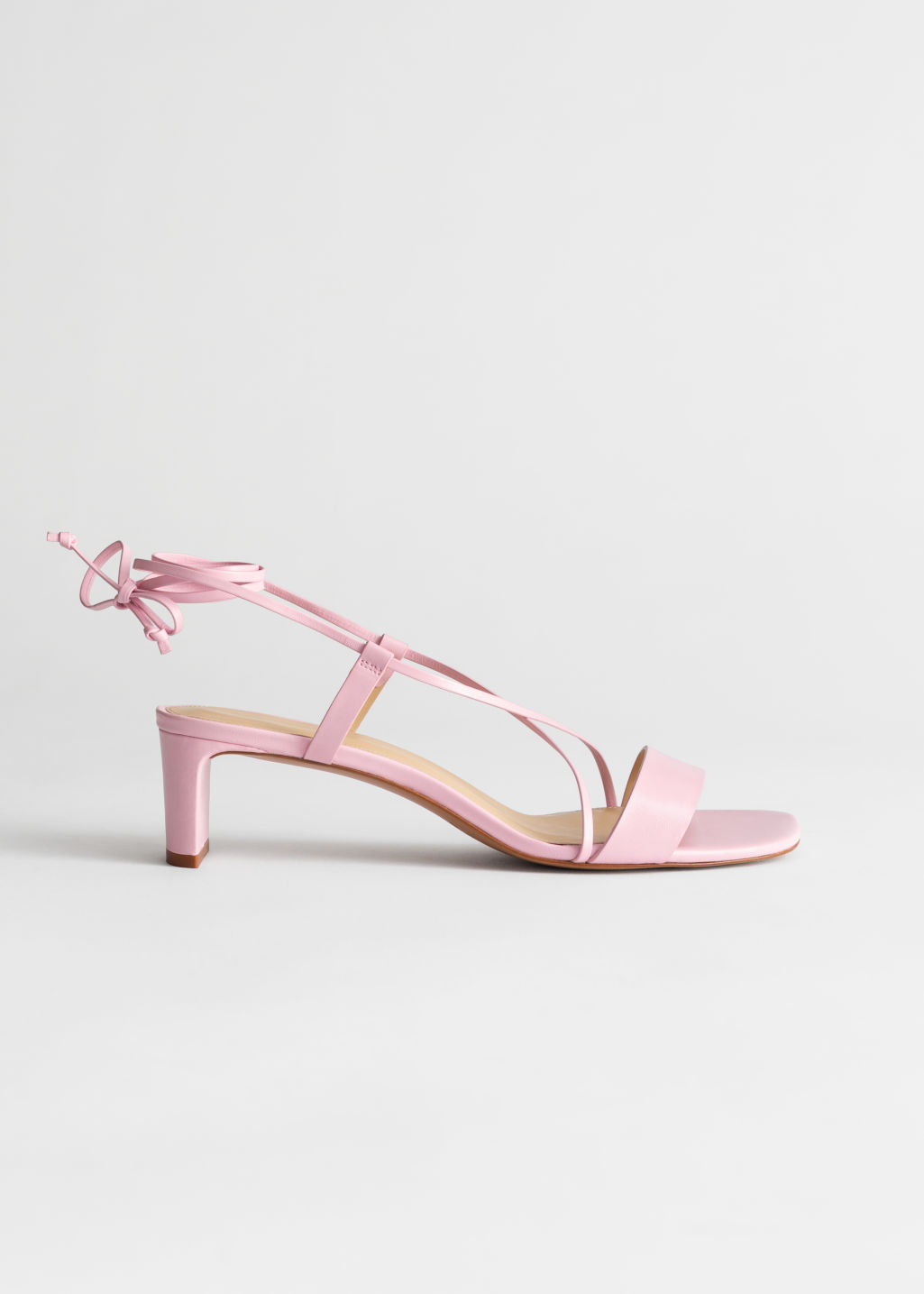 Criss Cross Lace Up Leather Sandals Pink Heeled sandals & Other Stories