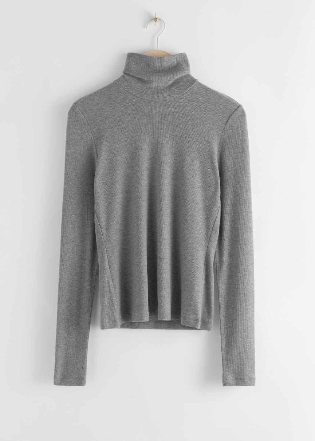 StillLife Front Image of Stories Fitted Lyocell Ribbed Turtleneck in Grey
