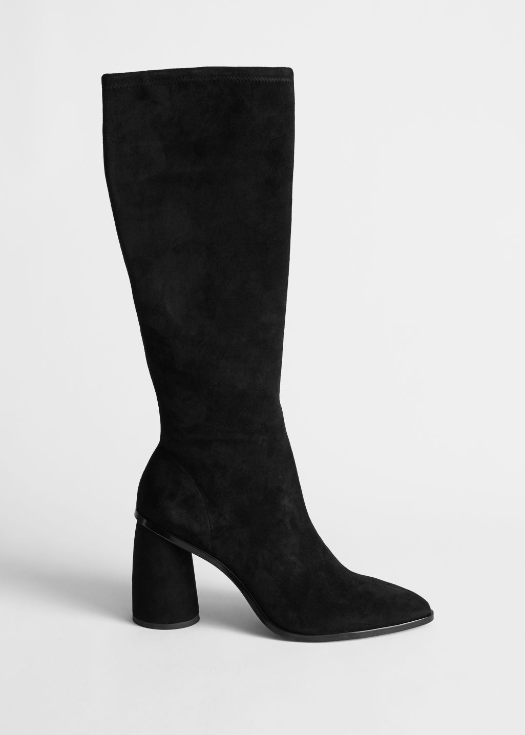 Front image of Stories pointed knee high suede boots in black