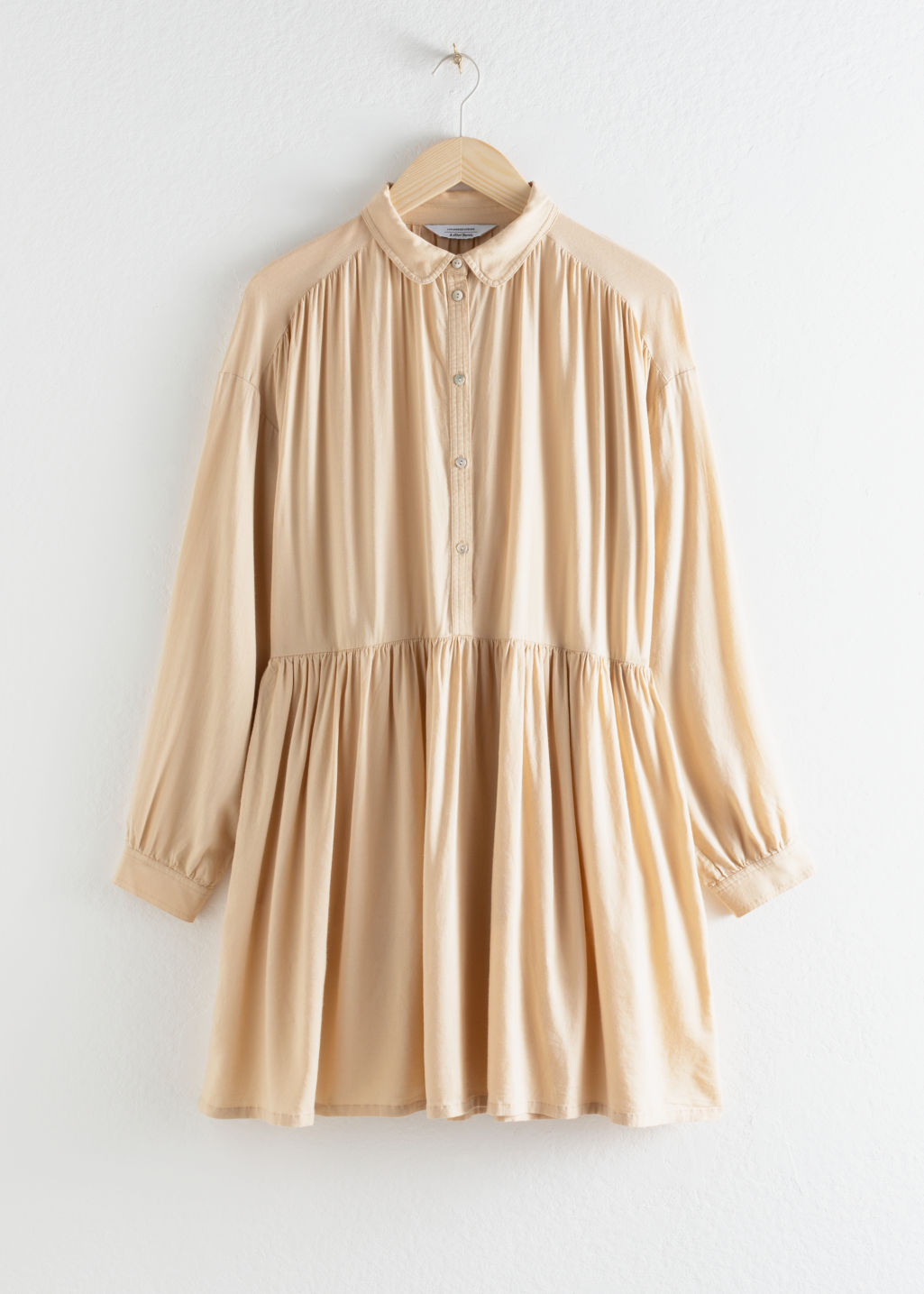 Front image of Stories oversized linen blend shirt dress in beige