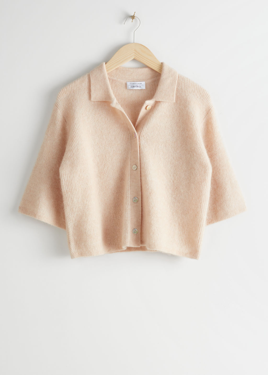 Front image of Stories cropped wool alpaca blend cardigan in beige