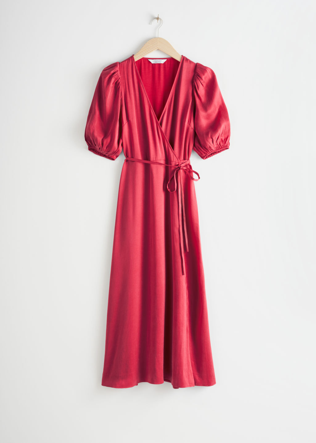 Front image of Stories puff sleeve maxi wrap dress in red